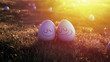 Happy easter eggs on the grass