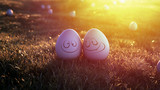 Happy easter eggs on the grass - 198206984