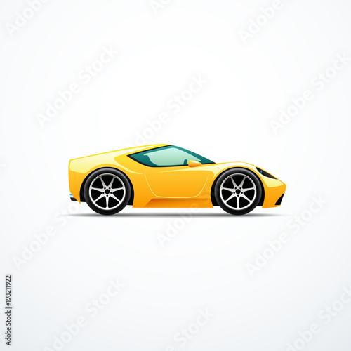 Plexiglas Auto Vector yellow cartoon sport car. Side view