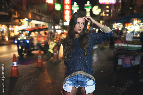 Fotobehang Bangkok Sexy and beautiful model is posing in the Chinatown