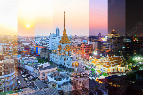 Fotobehang Bangkok Different shade color of High view of Wat Traimitr Withayaram in sunset time