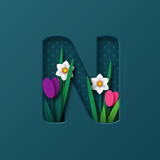 Letter N with paper cut spring flowers tulip and narcissus. Paper craft style. Vector illustration.