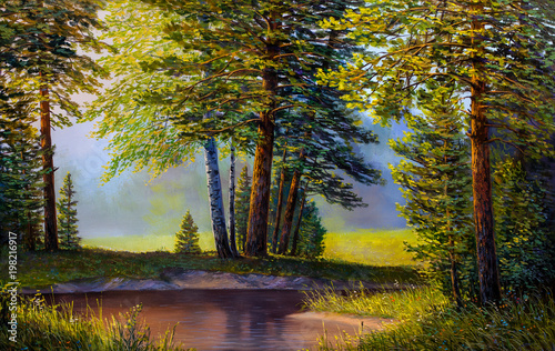 landscape-mountain-river-picture-oil-paints-on-a-canvas