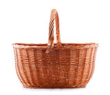 Empty wicker basket isolated on white - 198219360