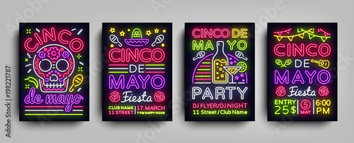 Cinco de Mayo Collection posters in neon style. Set Design Templates Flyers invitation for Sinco de Mayo Celebration, Brochure Neon, Light Banner, Typography Mexican Fiesta Party. Vector illustration