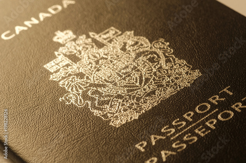 Fotobehang Toronto Passport cover toned blurred photo