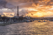 Amazing sunset in Paris, with Seine river and Eiffel tower