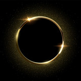 Golden sparkling ring with golden glitter isolated on black background. Vector golden frame. - 198232335