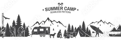 Summer camp seamless pattern. Vector illustration.