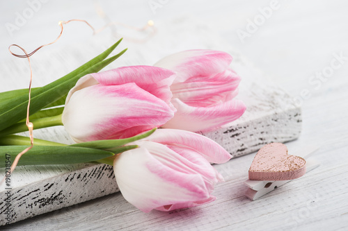 Tulips and pink heart