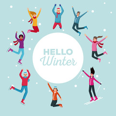 Hello winter people cartoons vector illustration graphic design