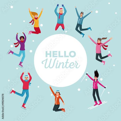 Cześć zimy ludzi kreskówek wektorowego ilustracyjnego graficznego projekta