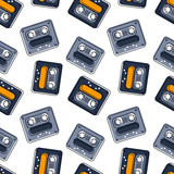 Funky tape mix seamless pattern. Authentic design for digital and print media. - 198265395