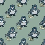 Funny beaver seamless pattern. Original design for print or digital media.