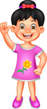 funny girl cartoon standing with smile and waving