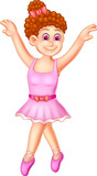 funny ballerina cartoon posing with smile and waving