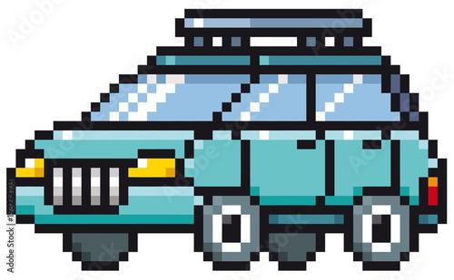 Wektorowa ilustracja kreskówka samochód - piksla projekt