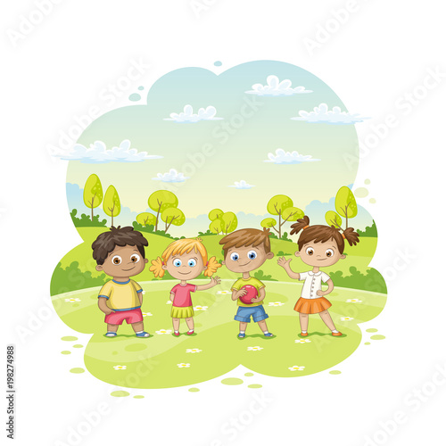 Group of children ist standing in a meadow - 198274988
