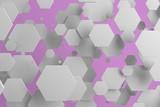 White hexagons of random size on violet background
