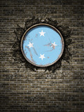 Old Micronesia flag in brick wall - 198282588