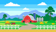 rural landscape with farm house barn tractor fence silos