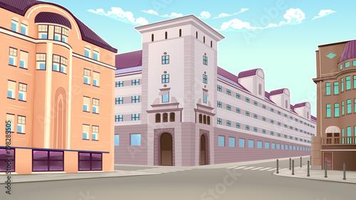 Foto op Plexiglas Kinderkamer Street view with buildings in perspective