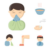 The sick man cartoon icons in set collection for design.Illness and treatment vector symbol stock web illustration.