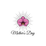 Orchid. Mothers day floral spring card template. Pink flower. Vector illustration.