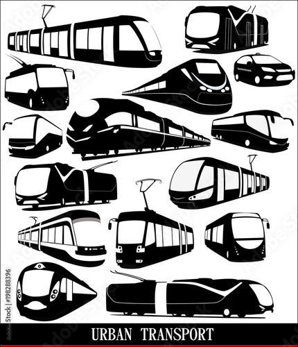 Different types of urban transport on a white background