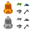 Backpack, mountains, map of the area, binoculars. Camping set collection icons in cartoon,monochrome style vector symbol stock illustration web.