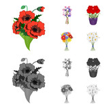 A bouquet of fresh flowers cartoon,monochrome icons in set collection for design. Various bouquets vector symbol stock web illustration.