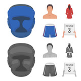Boxing, sport, mask, helmet.Boxing set collection icons in cartoon,monochrome style vector symbol stock illustration web.