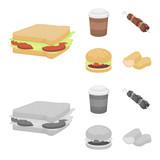Sandwich, coffee, shish kebab, burger.Fast food set collection icons in cartoon,monochrome style vector symbol stock illustration web.