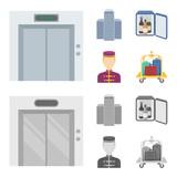 Elevator car, mini bar, staff, building.Hotel set collection icons in cartoon,monochrome style vector symbol stock illustration web. - 198289188