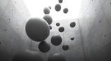 Fototapeta Przestrzenne - Abstract of architecture space with cement sphere ball are falling to the ground and light and shadow of the sun,3D render © panumas sripech