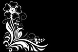 Flower. Decorative design for invitations and cards on black background