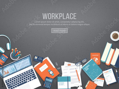 Workplace Desktop background. Top view of black table, laptop, folder, documents, notepad, books, purse, calendar, headphones, calculator, coffee, crumpled paper. Place for text. Vector Top view