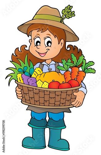 Poster Voor kinderen Woman farmer holding harvest theme 1