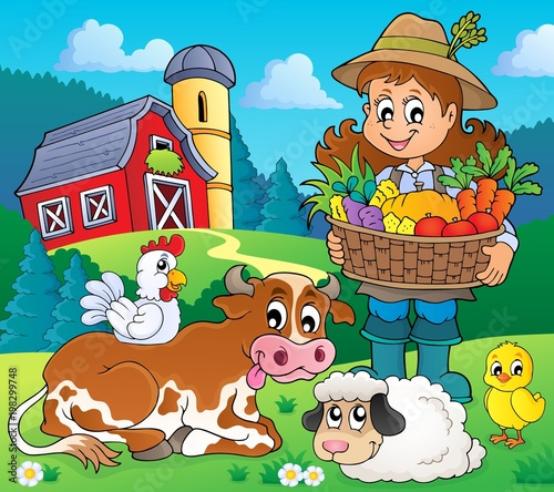 Poster Voor kinderen Woman farmer with harvest and animals
