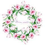 peony, card for you, handmade, watercolor, flowers,  flower wreath, buds, leaves, green and pink