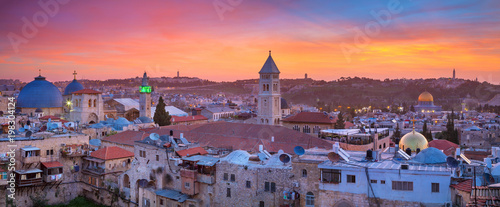 Jerusalem. Panoramic cityscape image of old town of Jerusalem, Israel at sunrise.