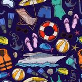 Seamless pattern of beach summer holidays accessories, sketch cartoon illustration. Vector