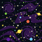 Seamless pattern of constellations on black background