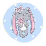 Cute cartoon rabbit girl with flower. Vector illustration of little bunny for kids.
