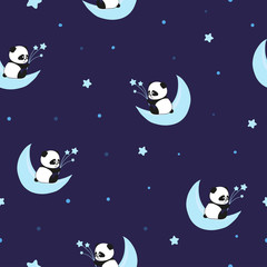 Seamless night pattern with cute panda bears on the clouds. Baby print. © Afanasia
