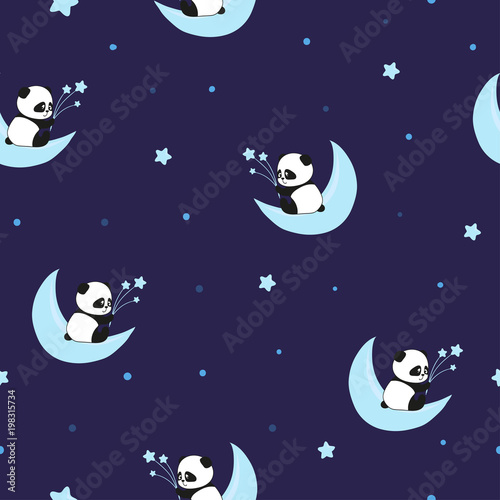 Fototapeta Seamless night pattern with cute panda bears on the clouds. Baby print.