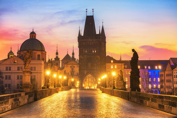 Colorful Morning View of Charles Bridge - Prague © tichr