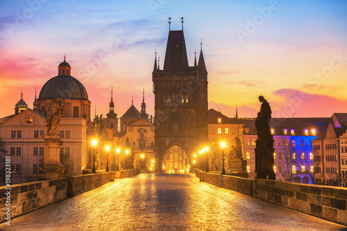 Poster Colorful Morning View of Charles Bridge - Prague