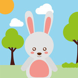 cute animal rabbit cartoon landscape trees clouds vector illustration