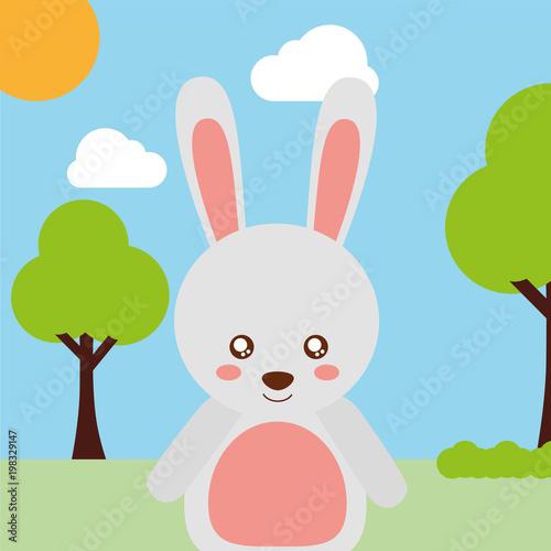 Fotobehang Pool cute animal rabbit cartoon landscape trees clouds vector illustration
